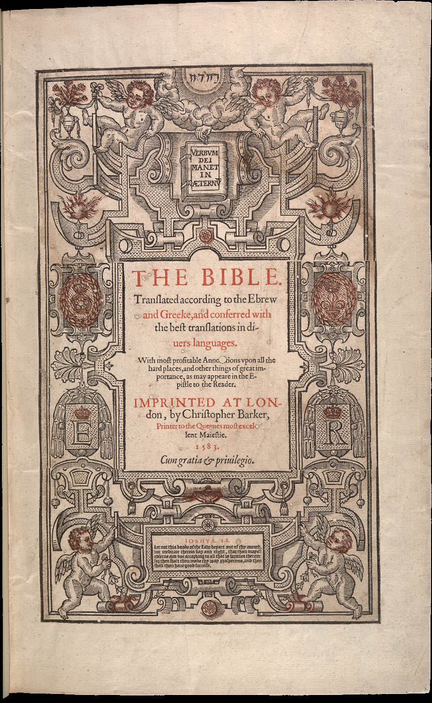 BIBLE 1583 annotations upon all the hard places
