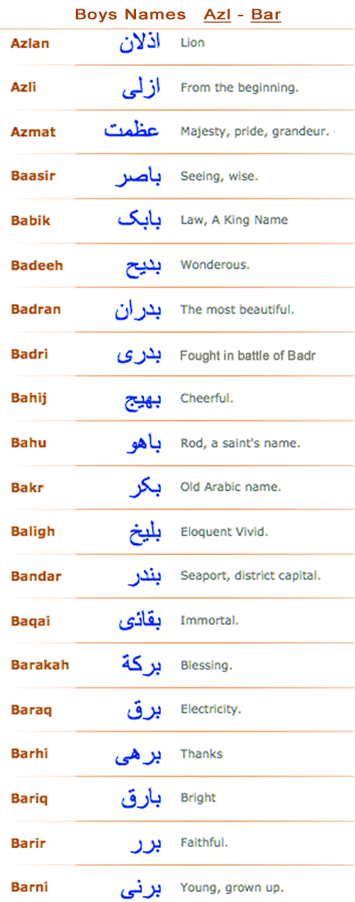 Boys Arabic Muslim Names Azl Bar