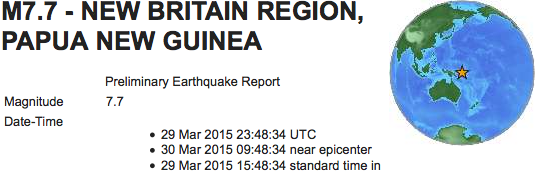 Earthquakes 2015 03 29 New Guinea