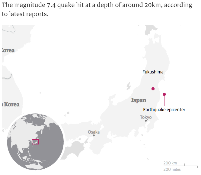 earthquake Japan map