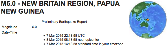 earthquake 2015 03 07 New Guinea