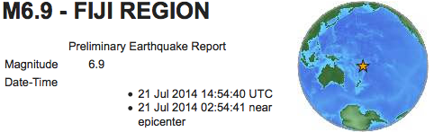 Earthquakes 6 9 Fiji July 21 2014