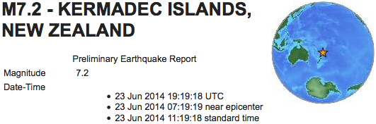 earthquake Kermadec Islands NZ 7 2