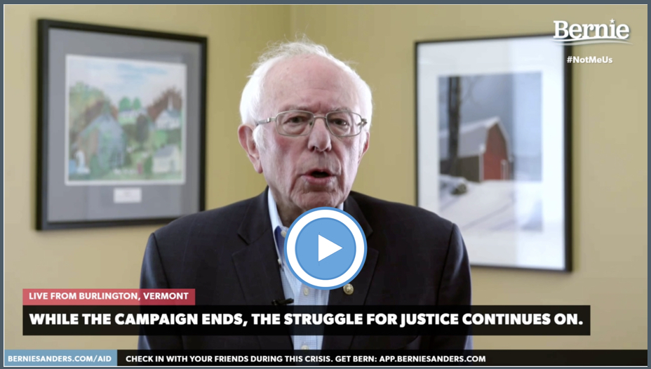 Bernie quits blue button