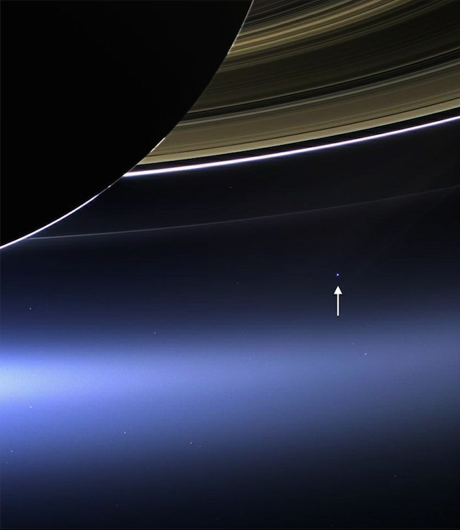 NASA earth view from Saturns Rings