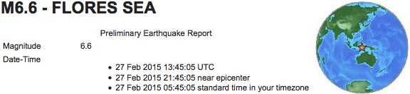 earthquake 2015 02 27 Flores Sea