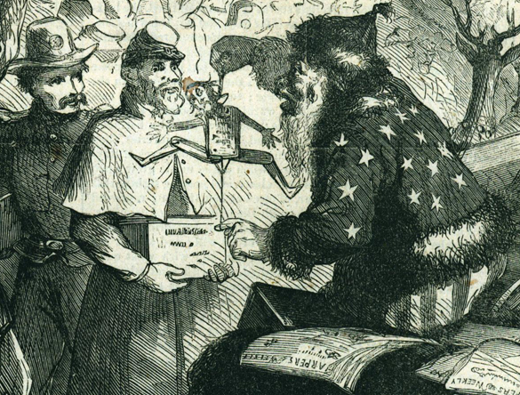 santa 1 Civil War Cartoon bw
