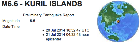 earthquakes 6 6 Kuril Islands July 20 2014