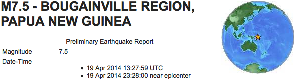 earthquakes new guinea 7 1M